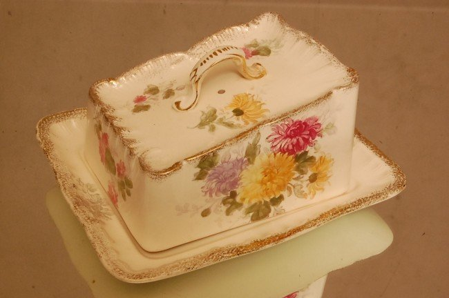 """12: Royal Bonn Cheese Keeper Floral Decorated 8 1/2"""" l"""