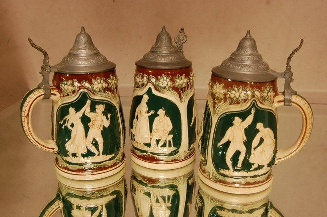 14: 3 German Porcelain Steins with pewter lids.  Marked