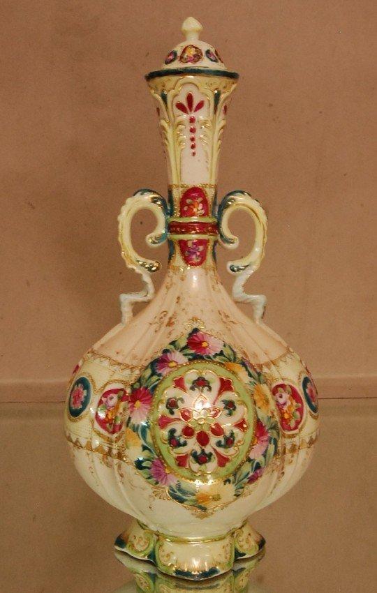 15: 2 Handled Porcelain vase, raised enameled decorated