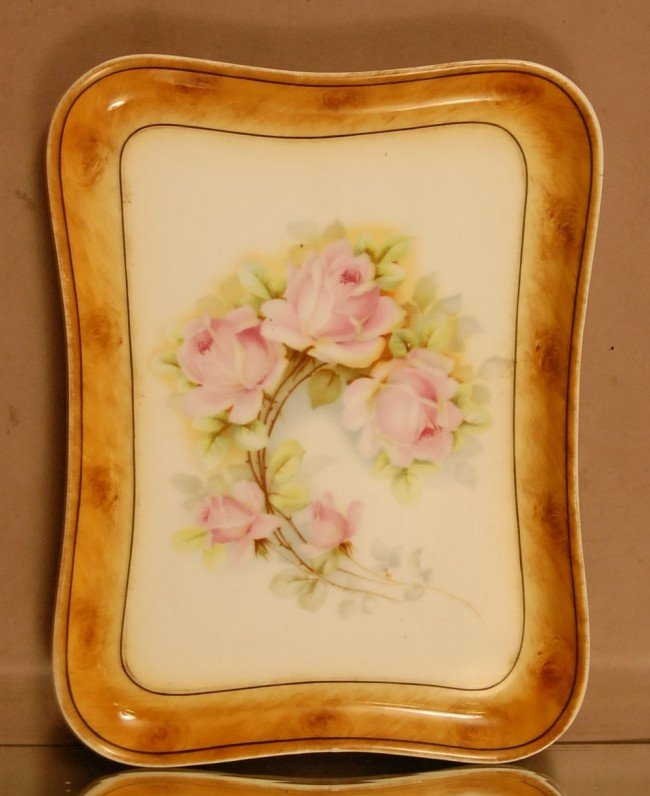 16: Royal Munich Porcelain Floral Decorated Tray.  Pink
