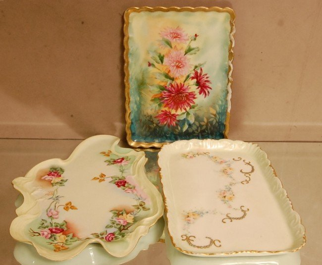 17: 3 Porcelain Decorated trays.  Unsigned ca. 1900