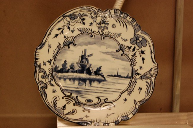 "21: Royal Bonn ""Delft"" Plate.  Windmill scene.  Signed"