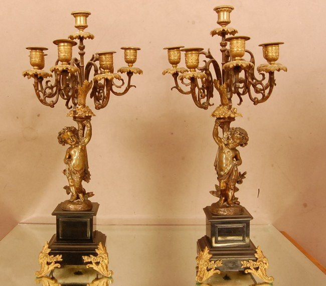 22: Pair of French Louis XV style Bronze Candelabras wi