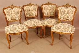 116 Set of 4 French Louis XV Walnut parlor chairs with