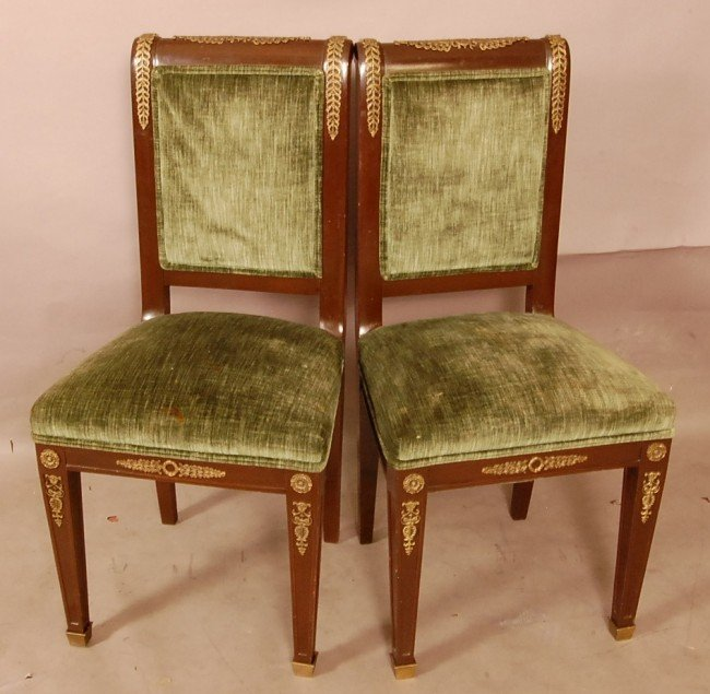 172: Pair of French Empire style side chairs.  Classic