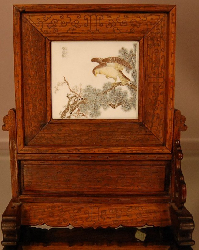396: Chinese Ivory panel & stand  2 Sided Artist signed