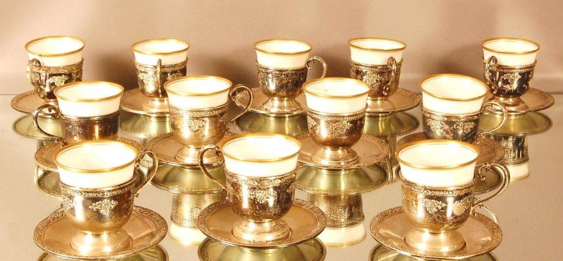 """1: 12 Sterling Silver & Porcelain Demitasse cups.  """"Ros"""