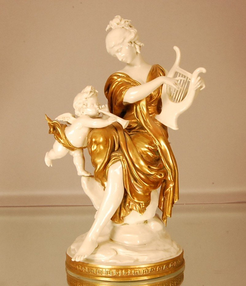 3: Porcelain Capodemonte Style figural statue Woman wit