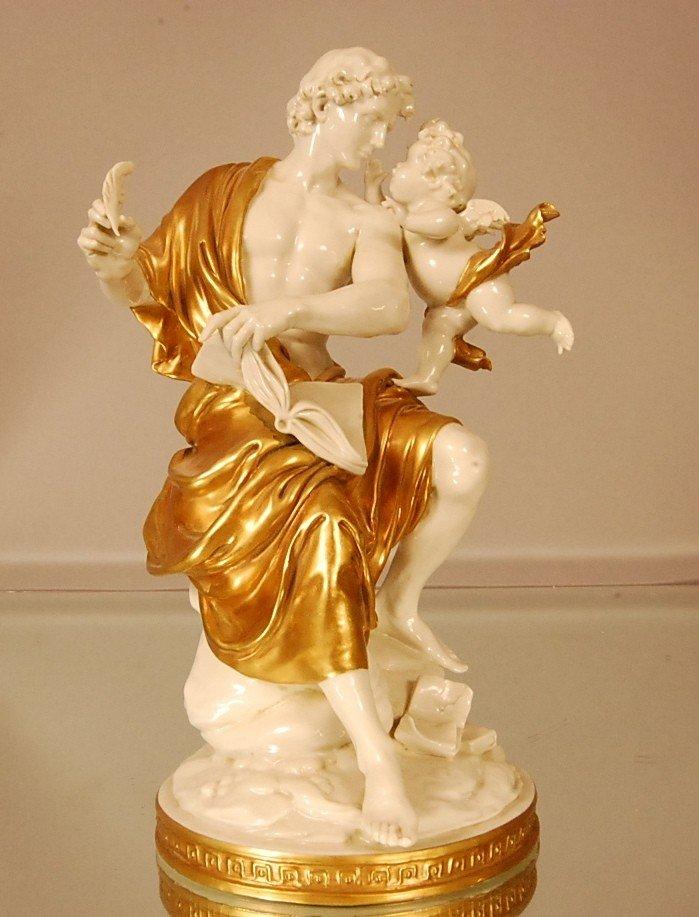 4: Porcelain Capodemonte Statue of Man & Cherub.  Appli