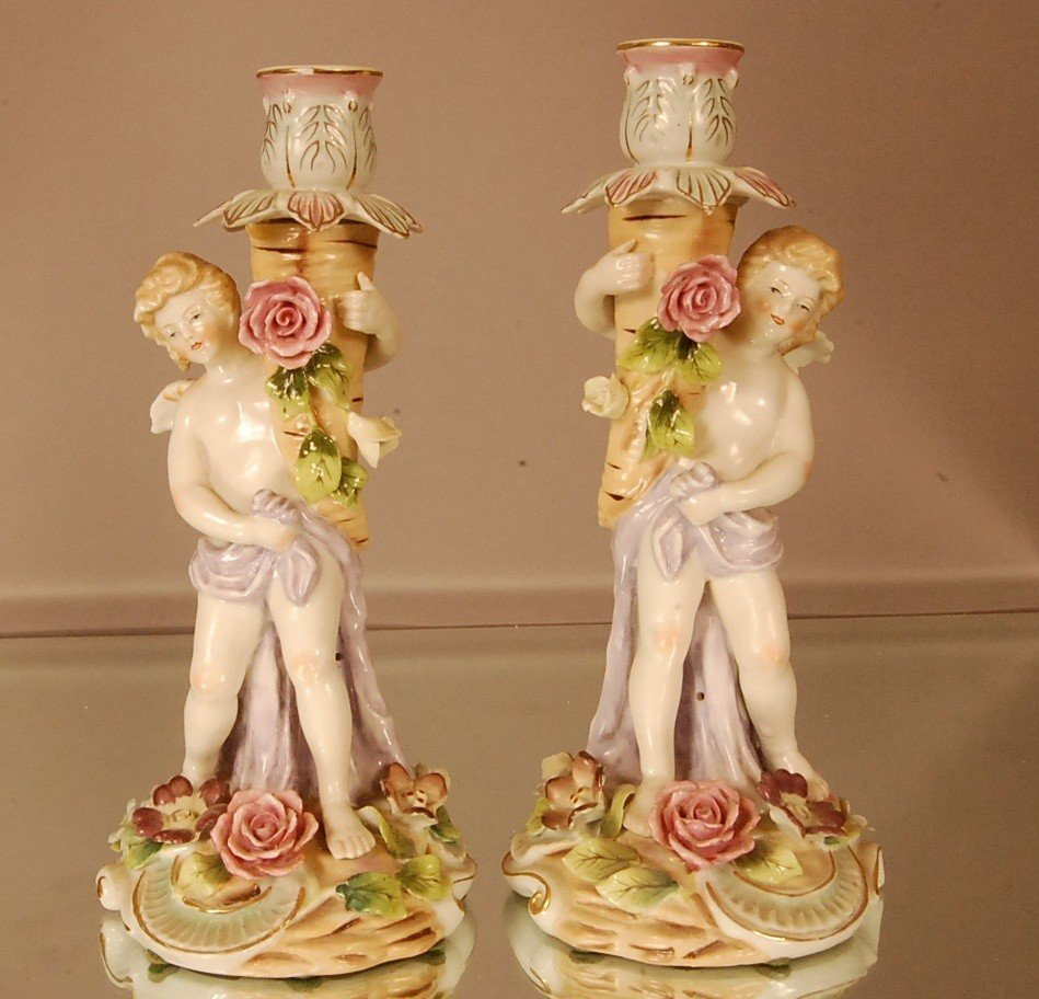 7: Pair of Mission style Porcelain candle holders with