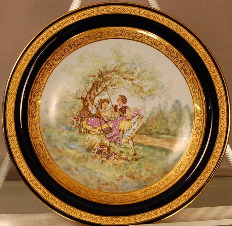 8: Limoges Decorated Plaque Artist signed Fragonais.  L