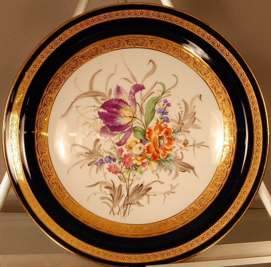 9: Limoges Decorated Plaque Floral still life.  Limoges