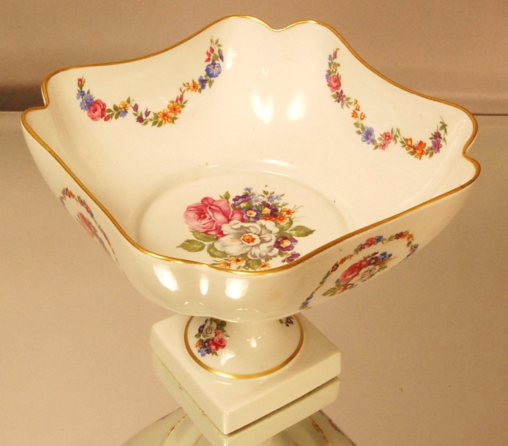 """10: Limoges Decorated Fruit Bowl  Floral Decorated 8"""" t"""