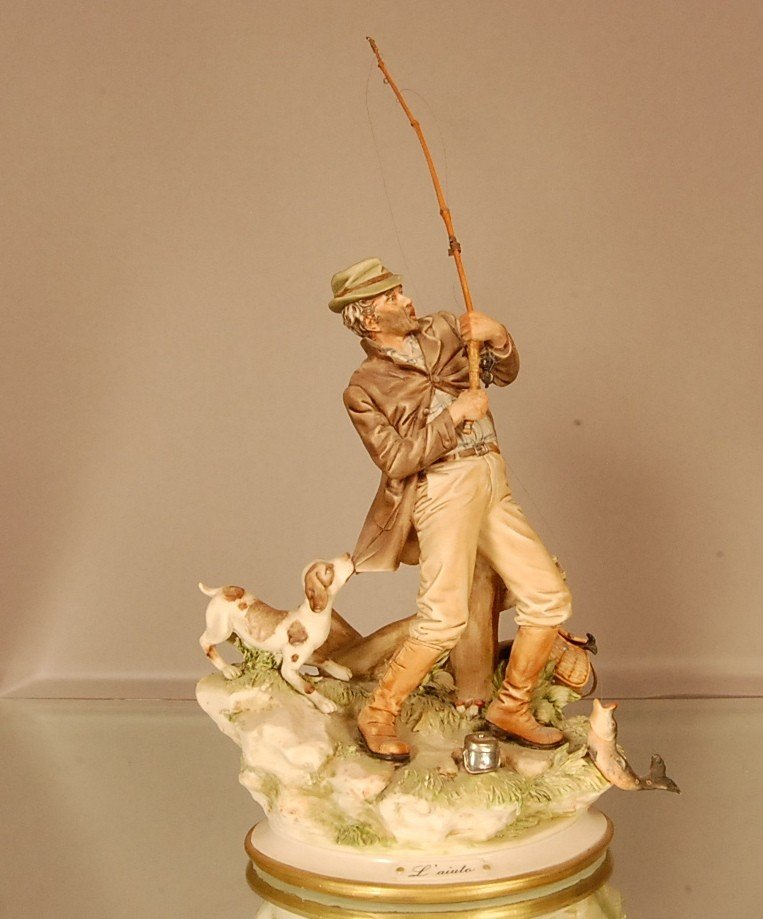 """17: Capodemonte style figural of man trout fishing """"Lai"""
