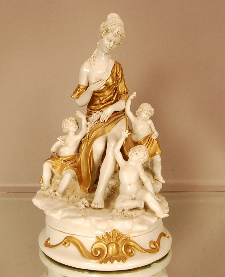 21: Capodemonte style porcelain statue of woman & 3 chi