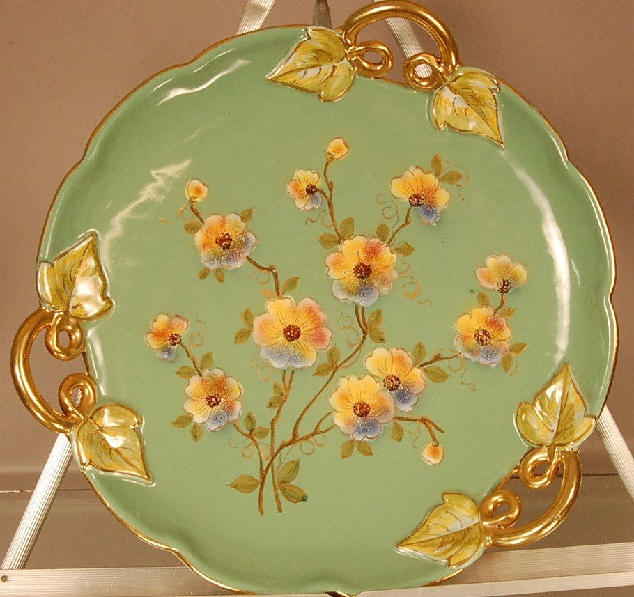 """22: Porcelain Floral Decorated Plate 13"""" d  Marked Ital"""