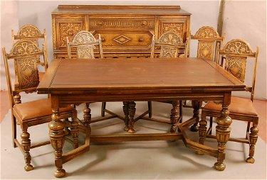 549 Jacobean Style 1920 S Oak 8 Pc Dining Room Set Wi