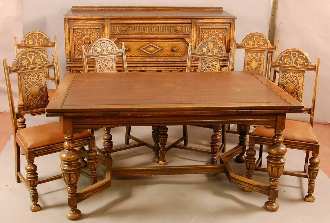 jacobean style 1920's oak 8 pc. dining room set wi
