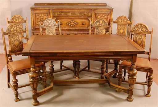 549 Jacobean Style 1920 S Oak 8 Pc Dining Room Set Wi
