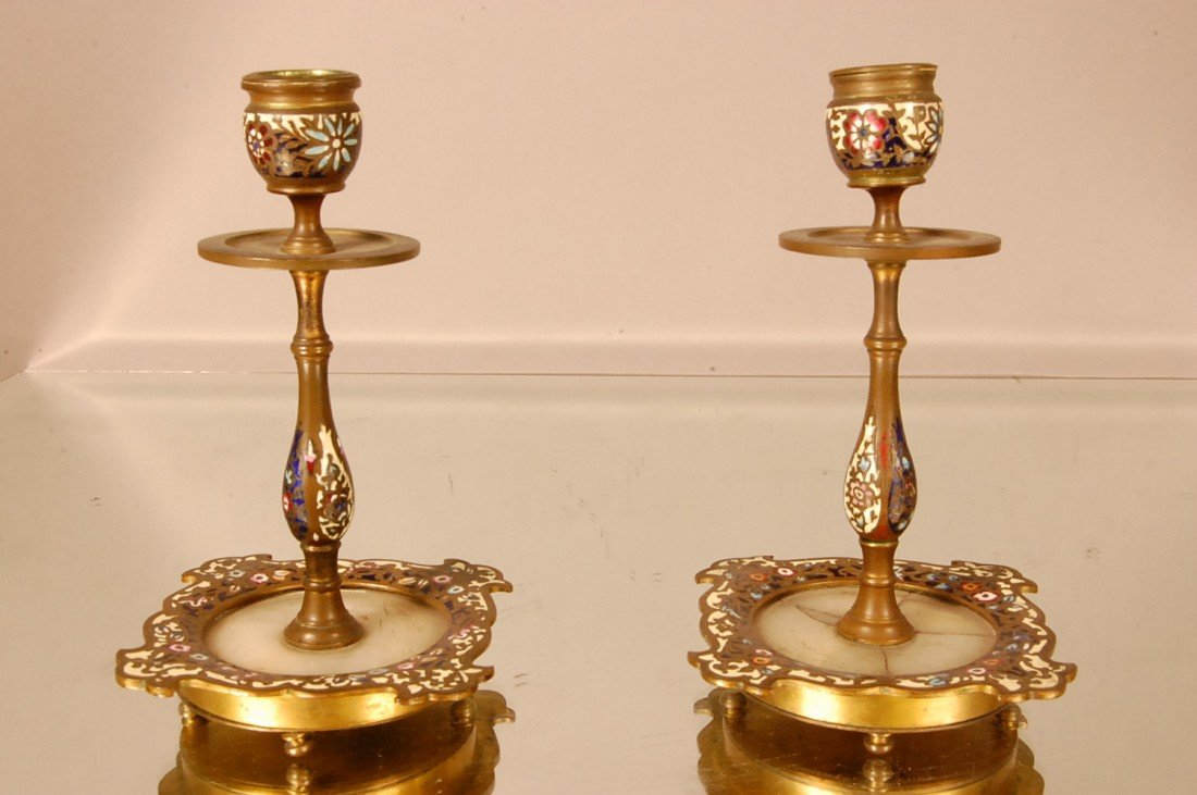 2: Champleve Candle Holders