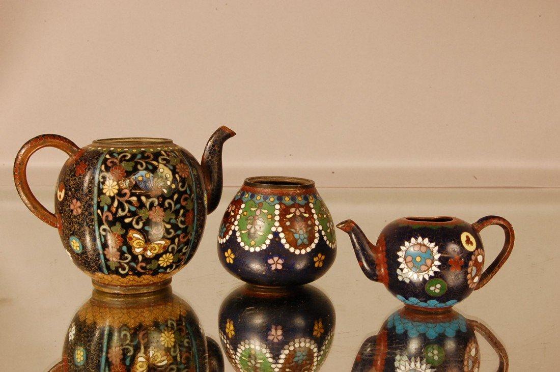 6: 3 Cloisonne Enameled Pieces 2 Teapots & Jar