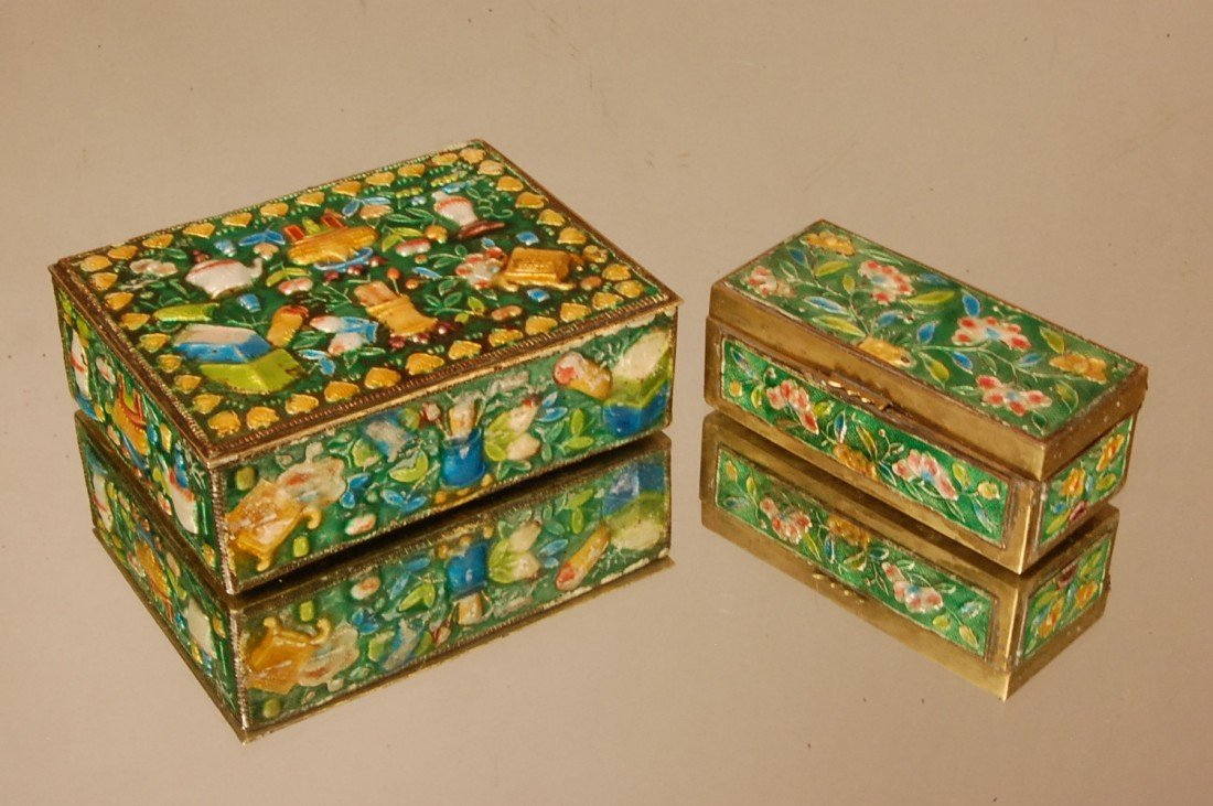 8: 2 Enameled Chinese Brass Boxes