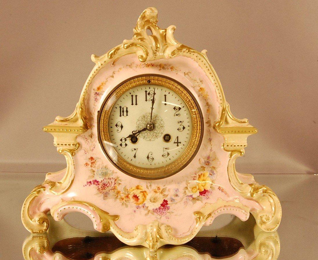 11: French Louis LV Style Porcelain L. Marti Shelf Cloc