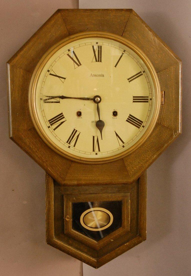 13: Ansonia Oak Regulator Wall Clock