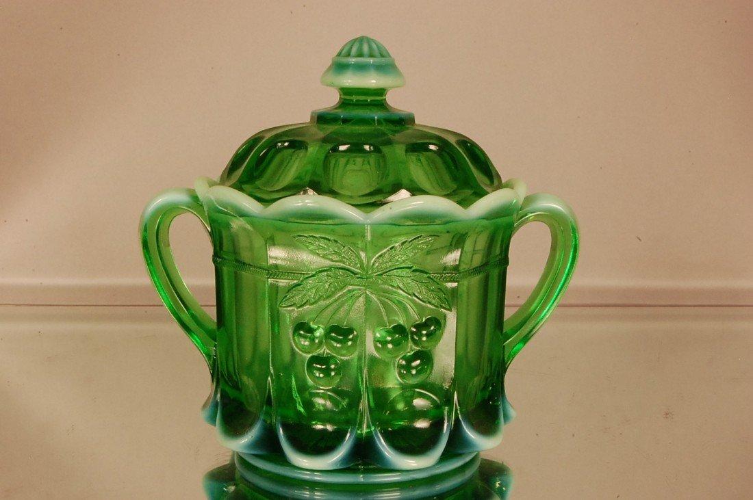 15: Green Opalescent Biscuit Jar
