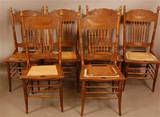 - 555: Oak Larkin Press Back Chairs