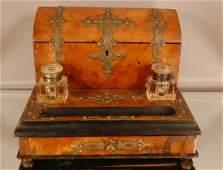 140: Victorian Beveled Walnut Inkwell & Desk Set