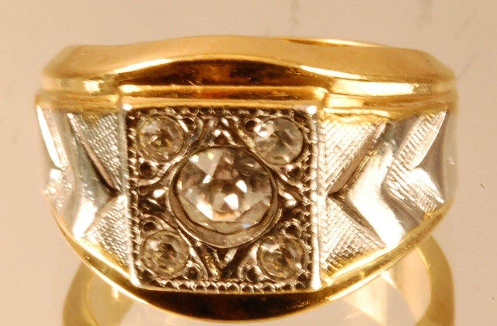 5: Gentlemens 14 K. Yellow Gold Diamond Ring