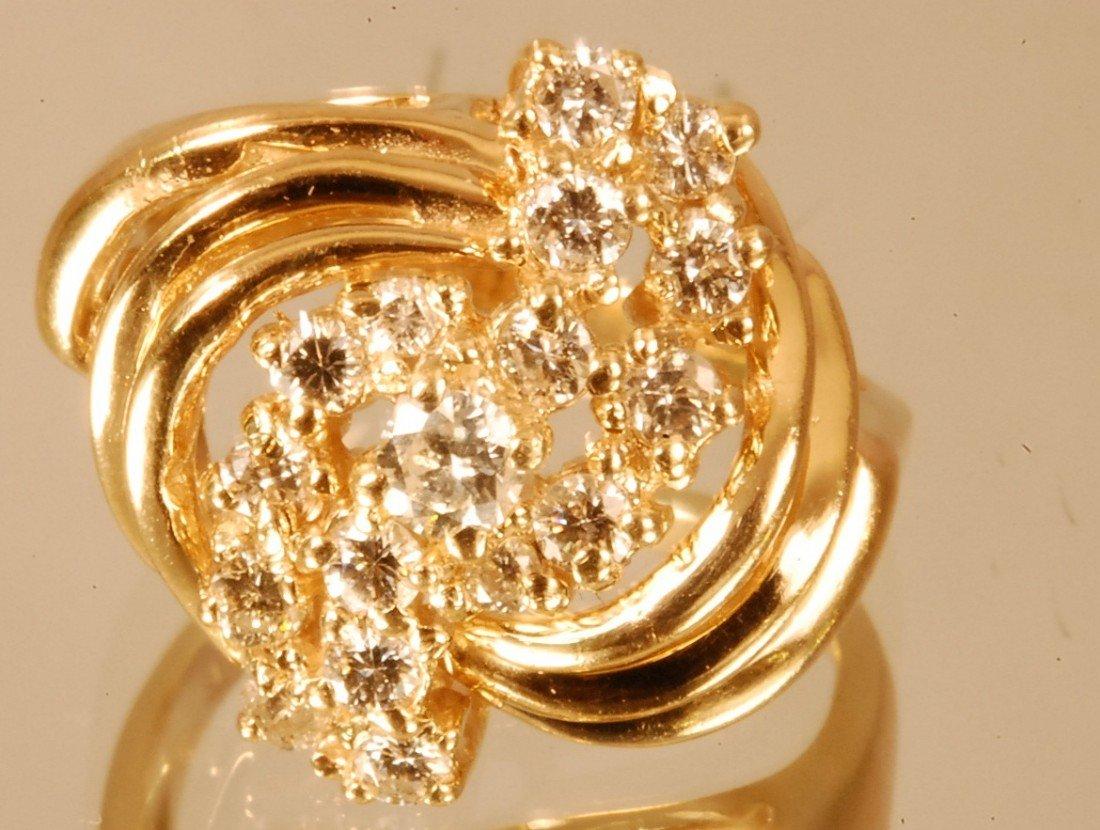 12: Ladies 14 K. Yellow Gold Dinner Ring