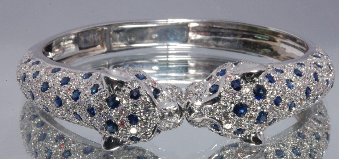 251: Ladies 18 K White Gold Panther Bracelet