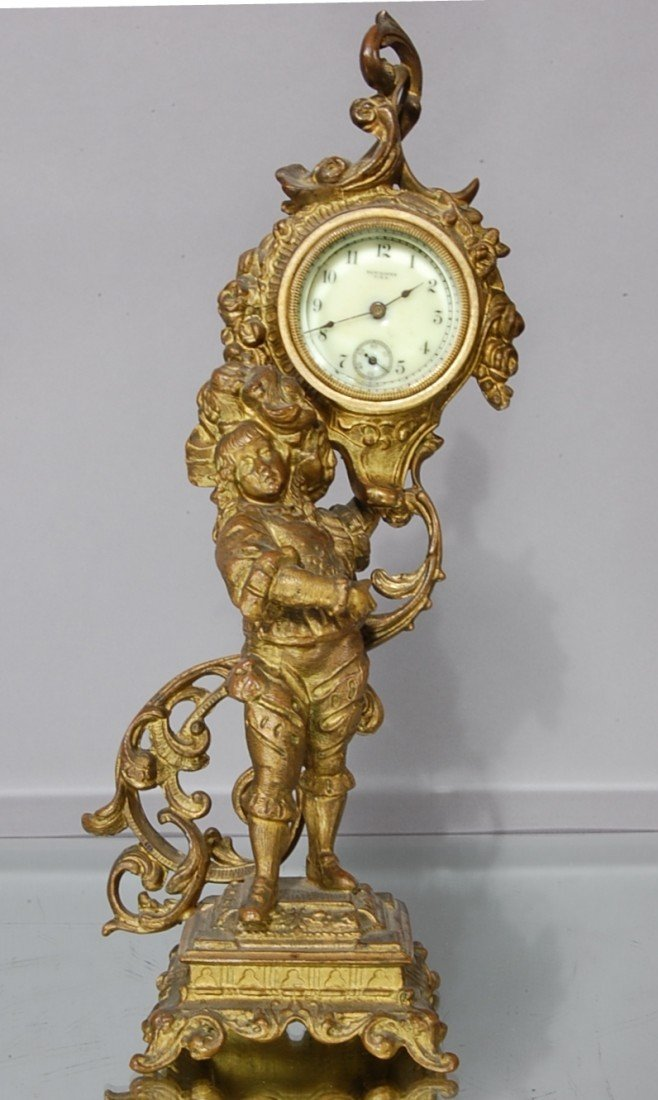 8: French Louis XV style New Haven Boudoir Statue Clock