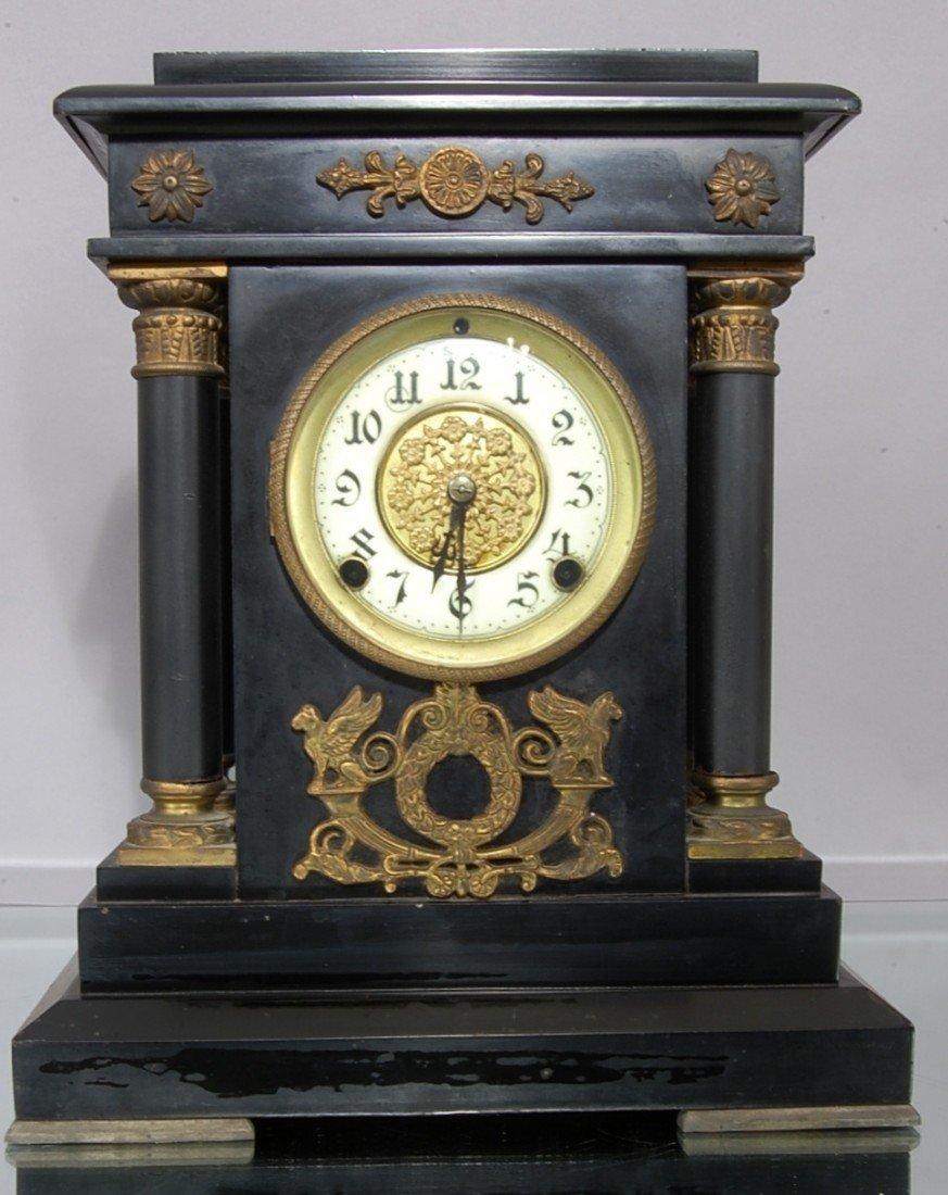 9: New Haven 4 Column Mantel Clock