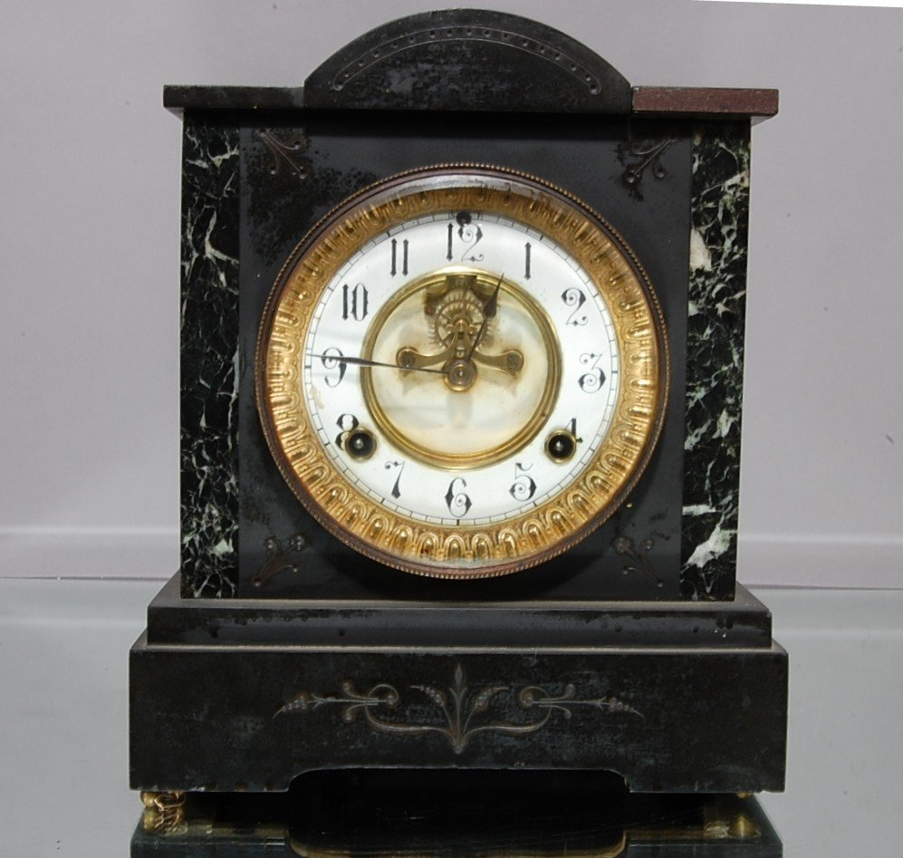 17: Waterbury Marble & slate mantel clock.