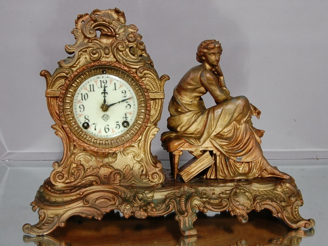 18: Ansonia French style Figural Mantel Clock