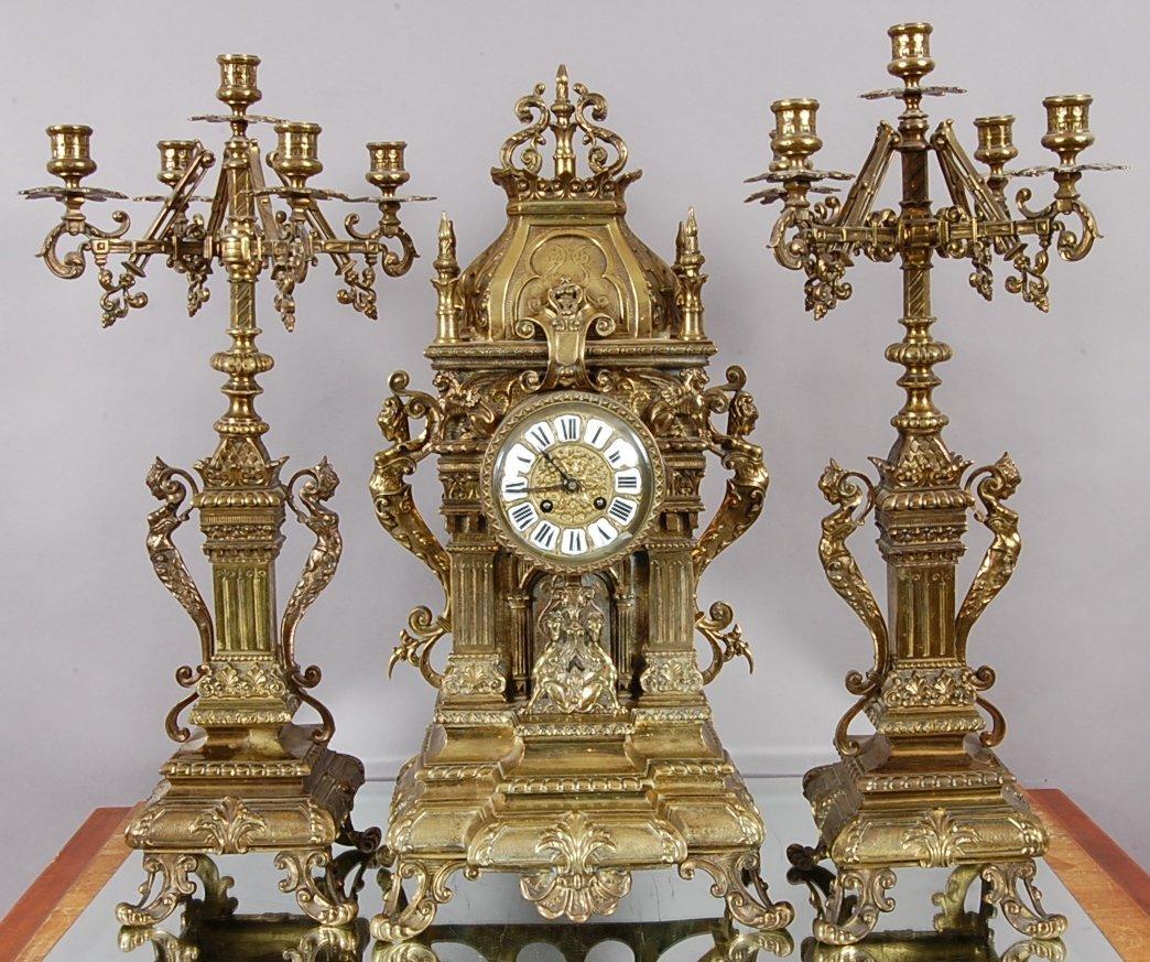 151: French Bronze Louis XIV style 3 piece mantel clock