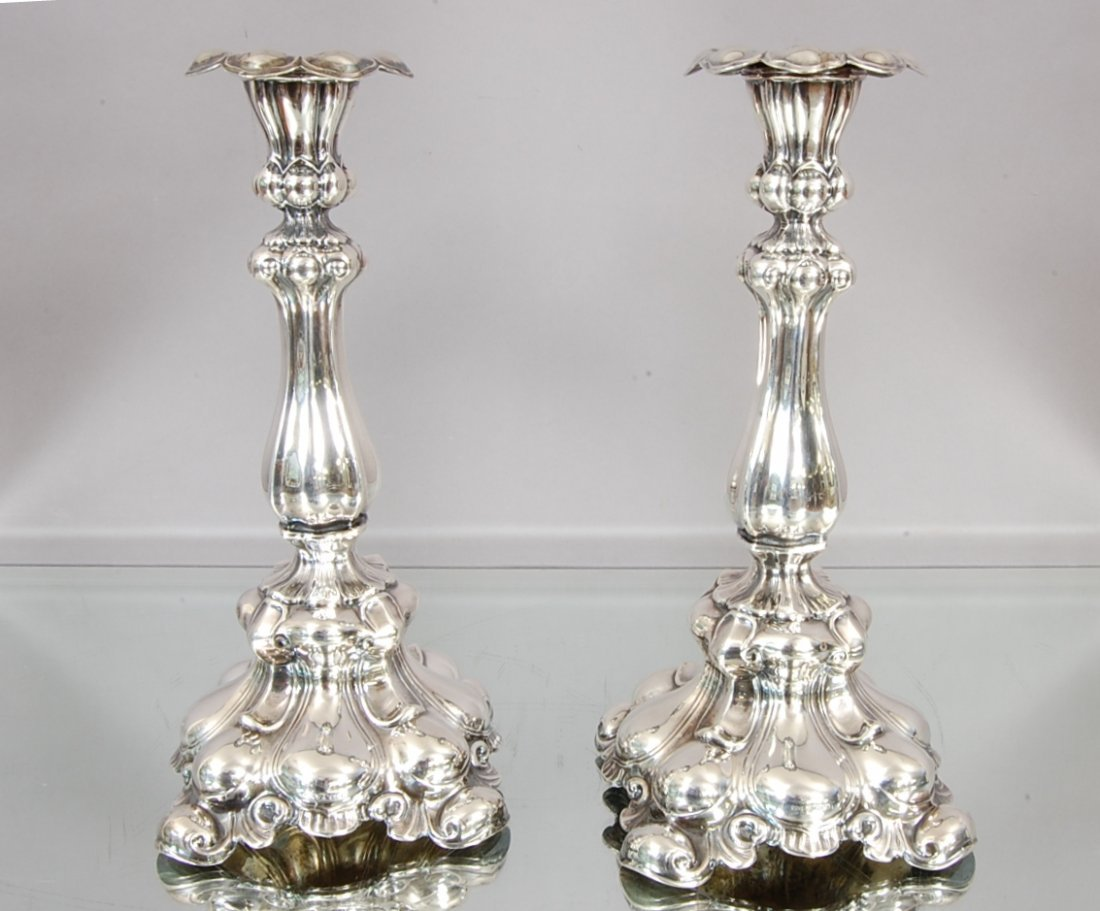 1: English Baroque Sterling Silver Candle Sticks