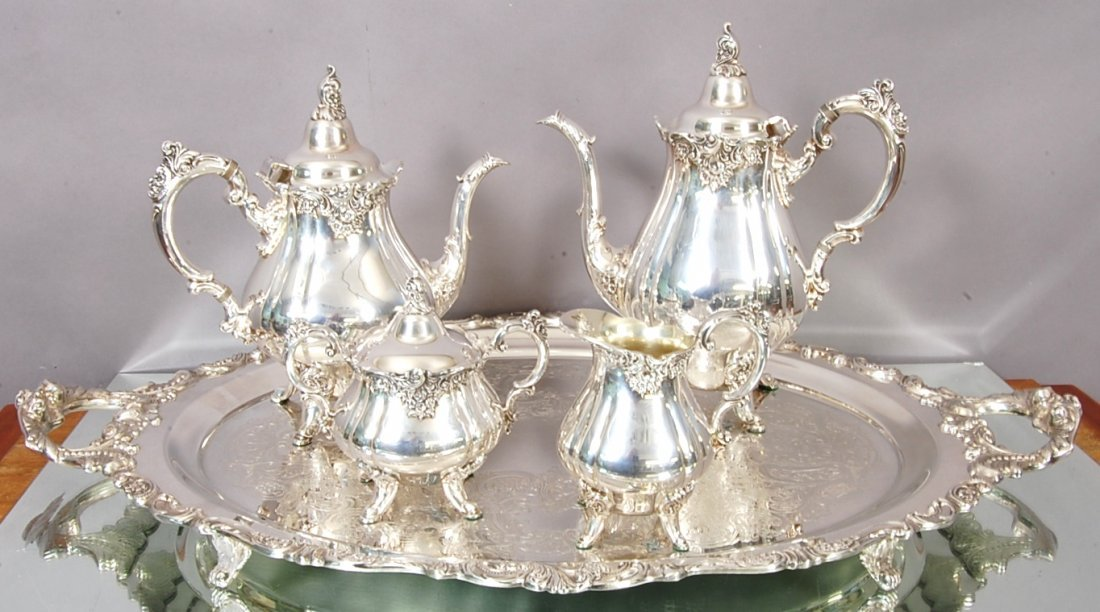 9: Baroque Pattern Silver Plate 5 piece tea set by Wall