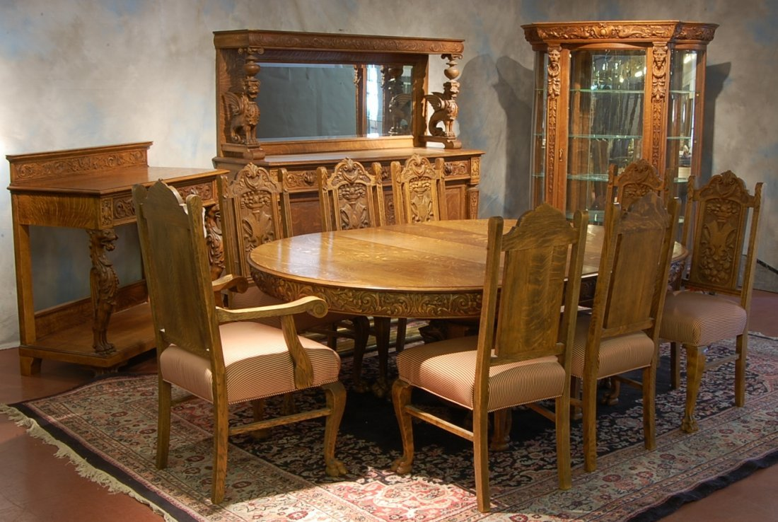 R.J. Horner 12 Piece Oak Dining Room Set