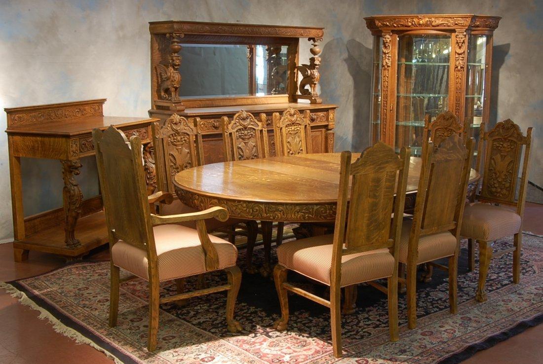 159: R.J. Horner 12 Piece Oak Dining Room Set