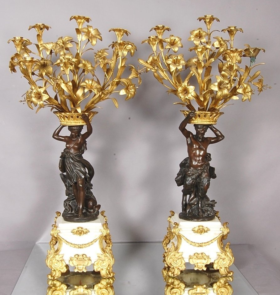 183: French Louis XV Bronze Candelabras with Greek Gods