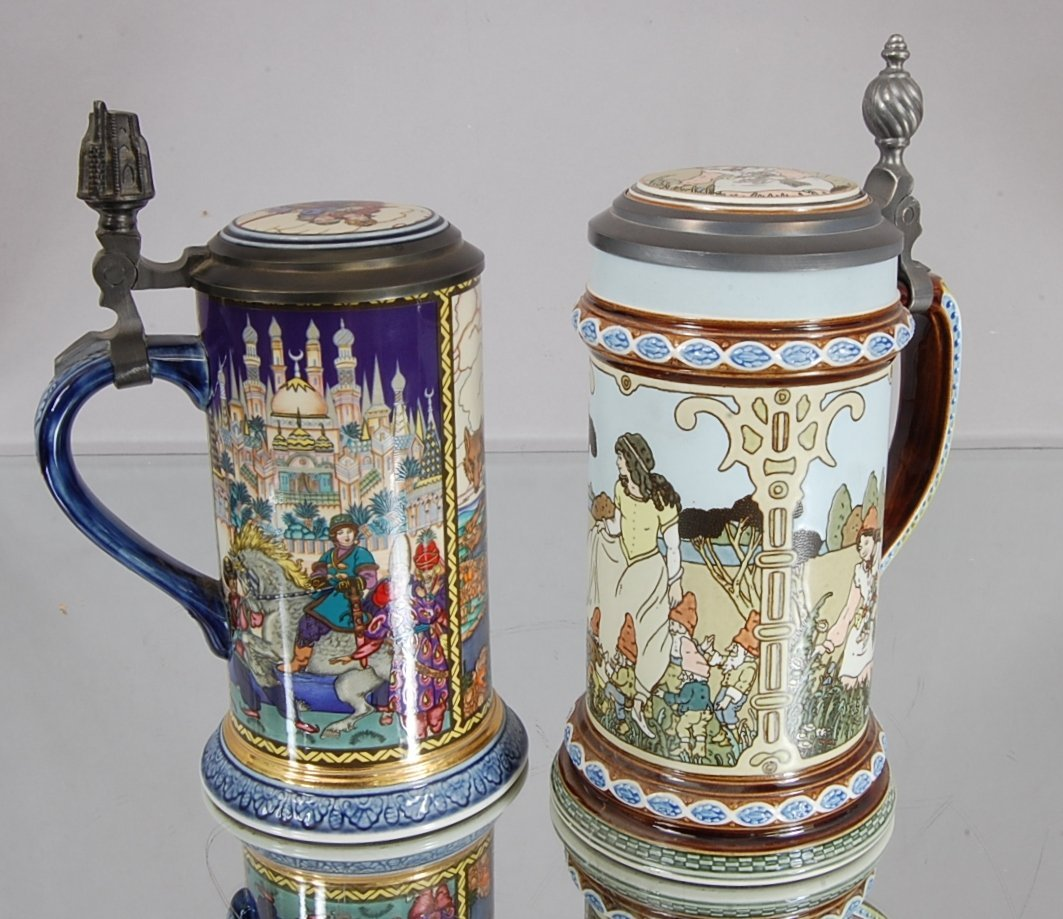 19: 2 Mettlach Steins  Russian Hand Painted