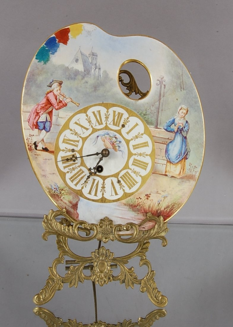 24: French Louis XVI Porcelain Clock & Stand