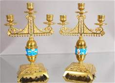 41: Pair of Victorian style Brass Candle Holders.