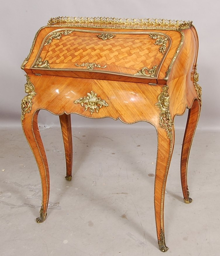 215: French Louis XV Rosewood Parlor Desk