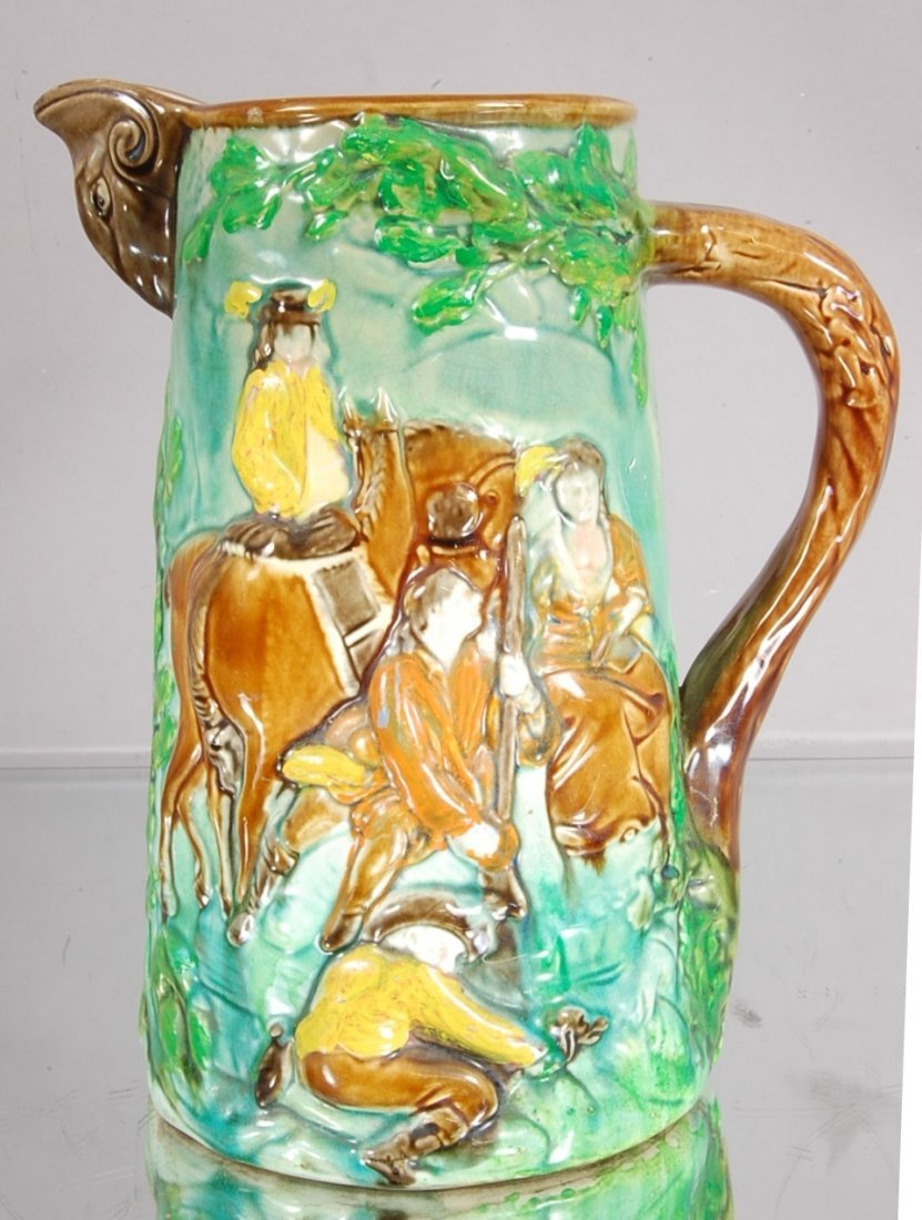 1: Majolica Style Scenic Water Pitcher