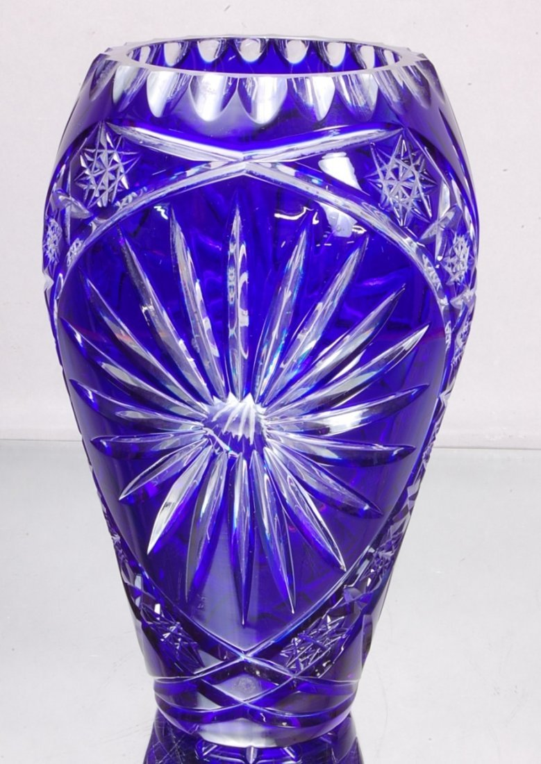 7: Blue Cut to Clear Cut glass Vase